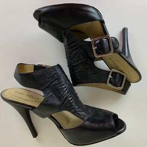 Ciao Bella Women's Black Leather Sandals 8.5 NWOB